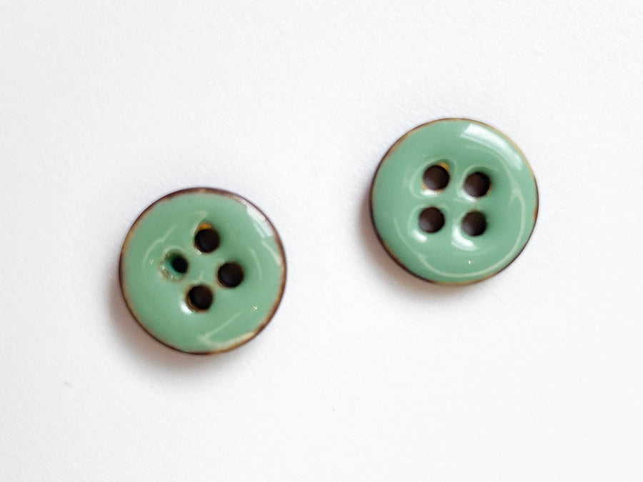 Light Blue Glossy Coco Shell Size Button 15mm - TGB2678