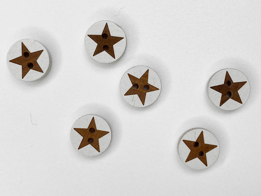 Small Pale Coco Shell Star Button 8mm - TGB2745