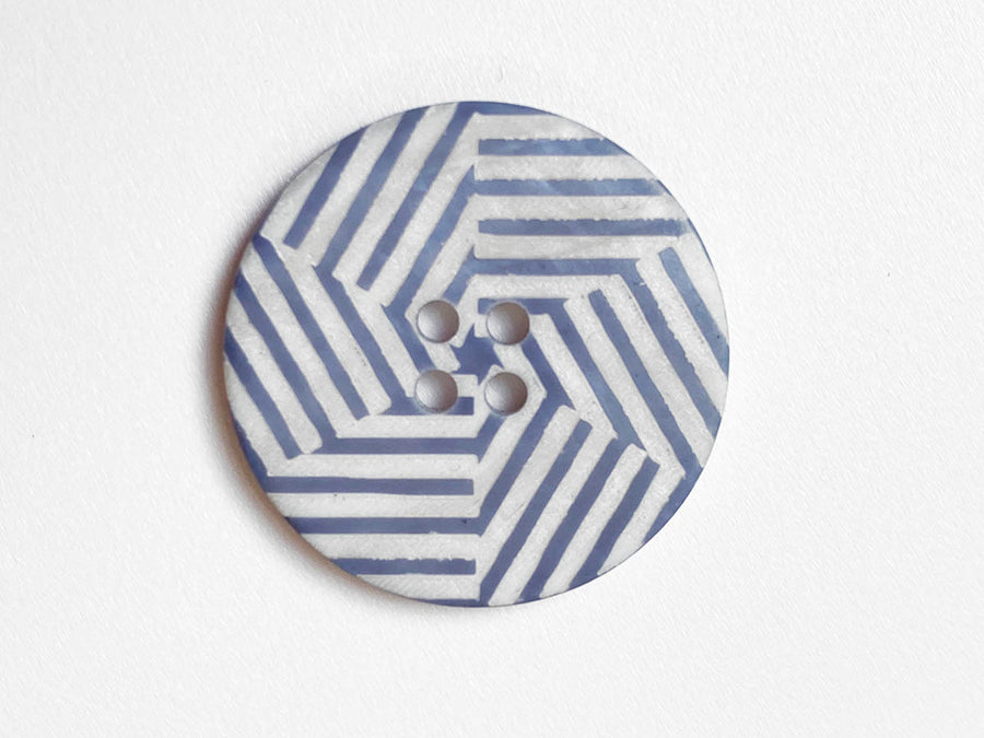 Grey Blue Laser Pattern River Shell Button 27mm - TGB5.031