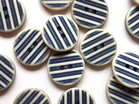 Off White w/ Navy Blue Ridges x 20mm - TGB4119