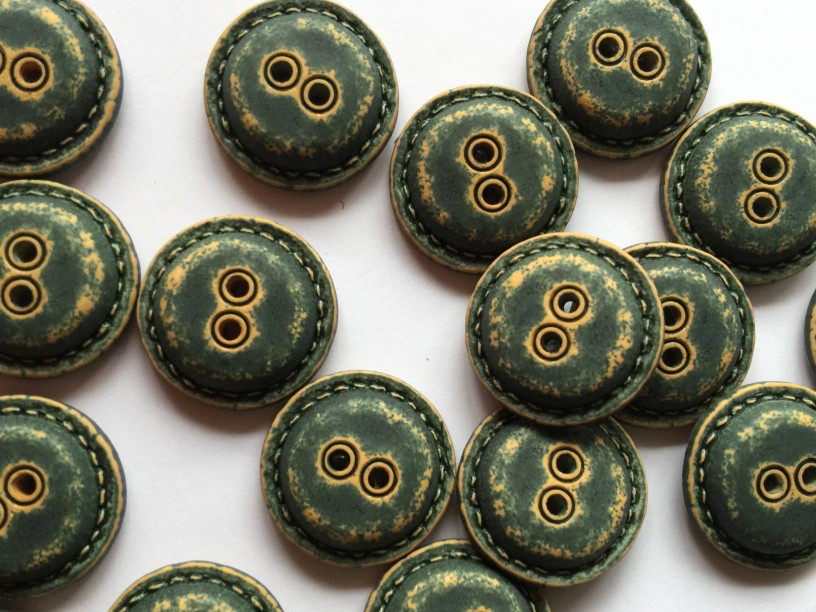 Dark Green Worn Looking Polyester Button - 20mm - TGB3967