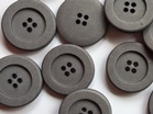 Simple 80% Cotton Buttons Grey x 25mm - TGB4010