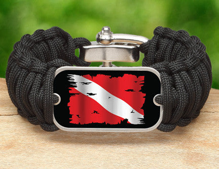 Wide Survival Bracelet™ - Tattered Diver Flag