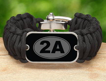 Wide Survival Bracelet - 2nd Amendment (Gray)