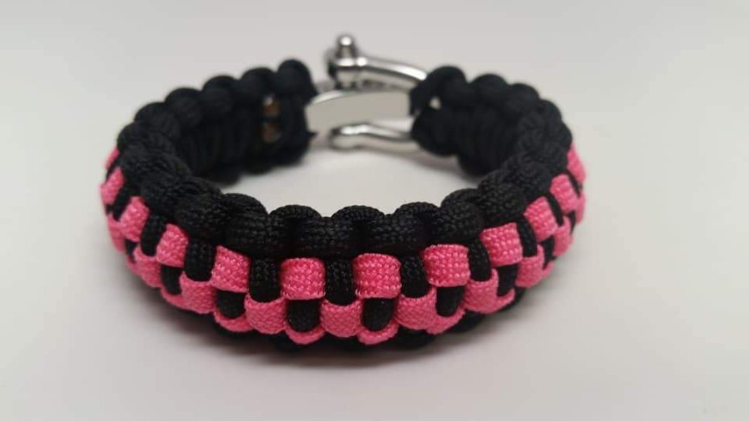 Pink Coral And Black Checkered Bracelet