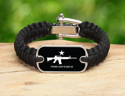 Light Duty Survival Bracelet - Come and Take It (White)
