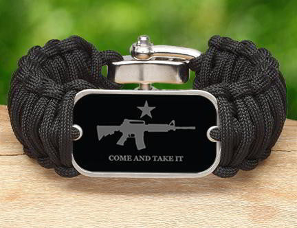 Wide Survival Bracelet - Come and Take It (Gray)