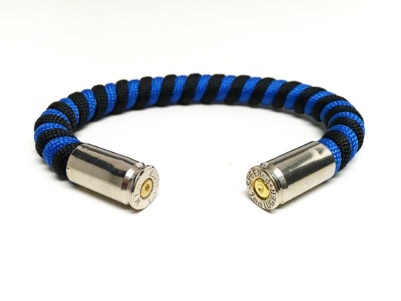 Thin Blue Line - 9mm Bullet Bracelet