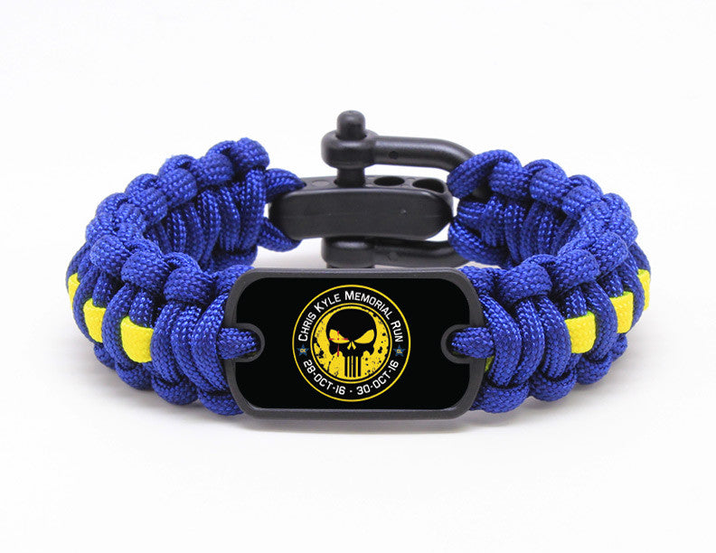 Regular Survival Bracelet - Chris Kyle Memorial - Navy Blue and Yellow