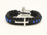 Light Duty Survival Bracelet™ - Police Blue Line Cross