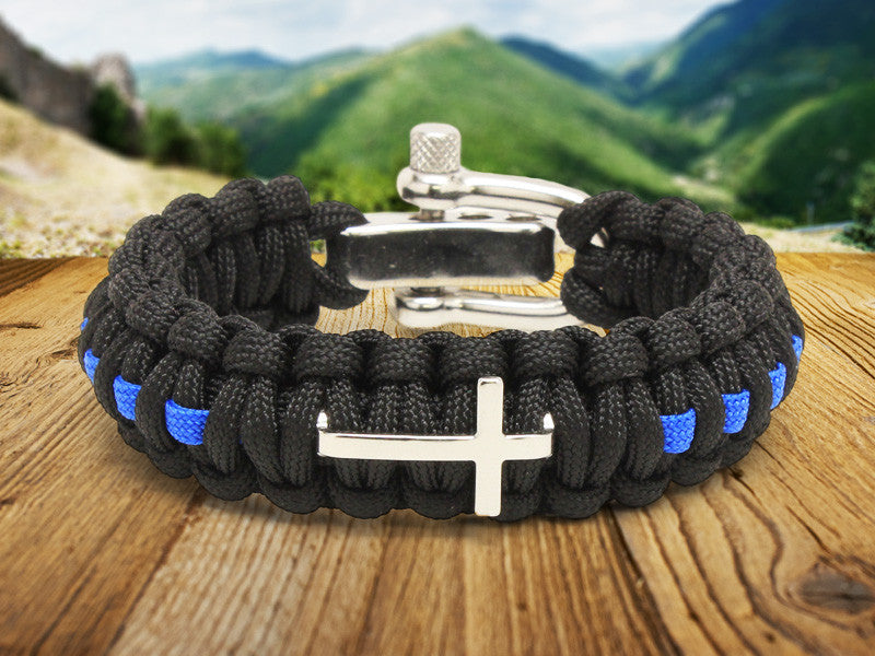 Regular Survival Bracelet™ - Police Blue Line Cross