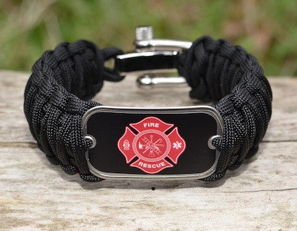 Wide Survival Bracelet™ - Firefighter Tag