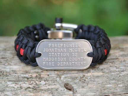 Regular Survival Bracelet™ - Firefighter Red Line Custom Embossed