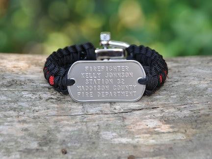 Light Duty Survival Bracelet™ - Firefighter Red Line Custom Embossed