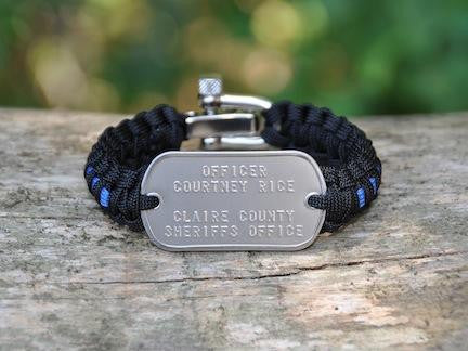 Light Duty Survival Bracelet™ - Police Blue Line Custom Embossed