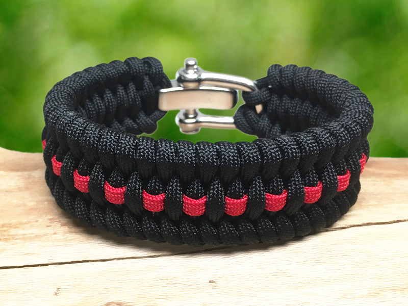 Wide Survival Bracelet ™- Fish Tail - Firefighter Red Line