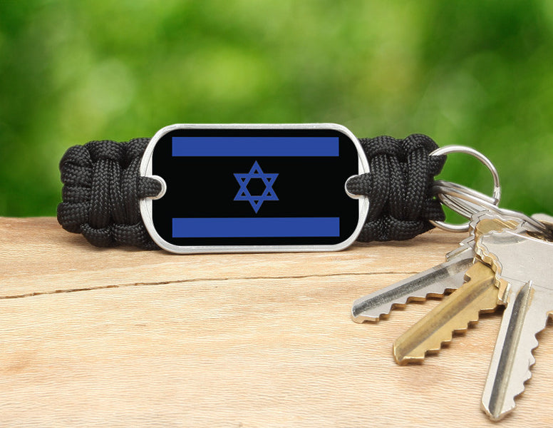 Key Fob - Israeli Flag - Black
