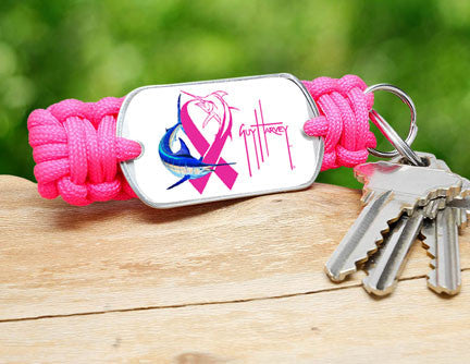 Key Fob-Guy Harvey-Neon Pink Ribbon