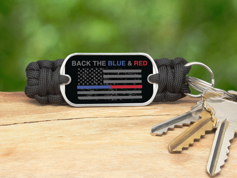 Key Fob - Back the Blue & Red