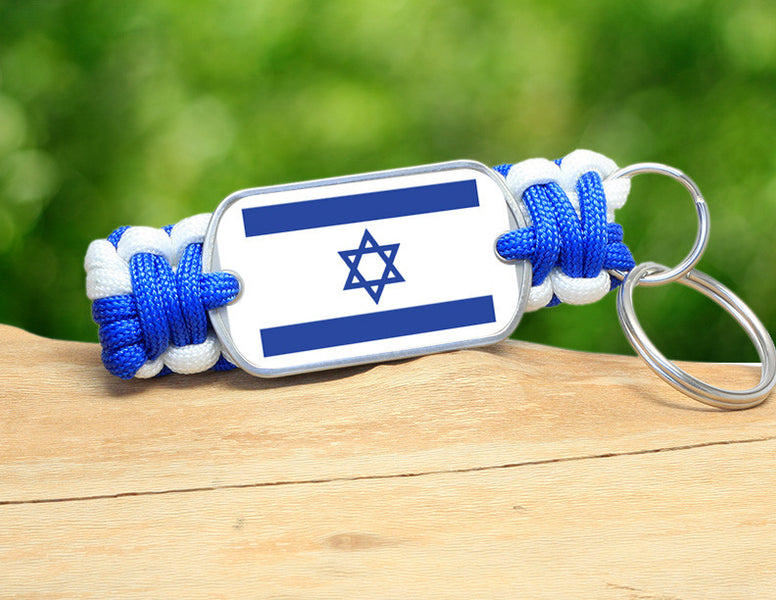 Key Fob - Israeli Flag - Blue/White