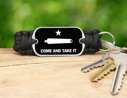Key Fob - Gonzales Flag (White)