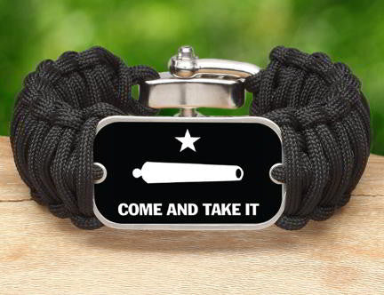 Wide Survival Bracelet - Gonzales Flag (White)