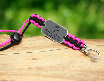 Neck ID Lanyard - Navy SEAL Foundation - Black and Pink