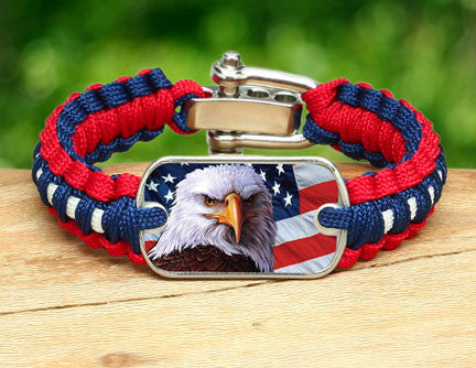 Light Duty Survival Bracelet - America Strong Eagle2 Logo