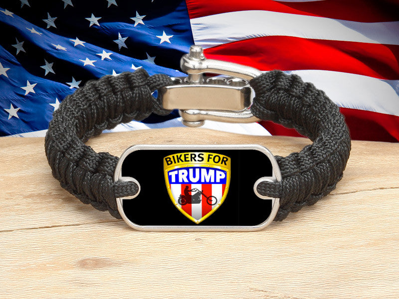 Light Duty Survival Bracelet™ - Bikers For Trump - Black Background