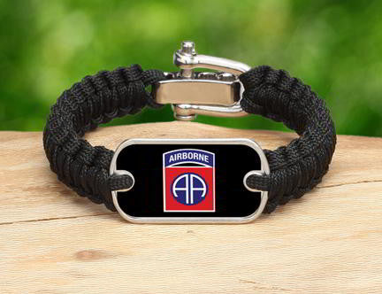 Light Duty Survival Bracelet™-U.S. Army™ 82nd Airborne Black