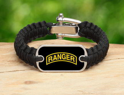 Light Duty Survival Bracelet™-U.S. Army™ Rangers Black