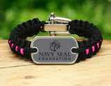 Light Duty Survival Bracelet™- Navy SEAL Foundation - Black and Pink