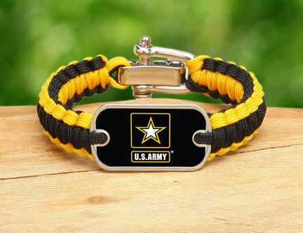 Light Duty Survival Bracelet - Officially Licensed - U.S. Army™-Black/Yellow