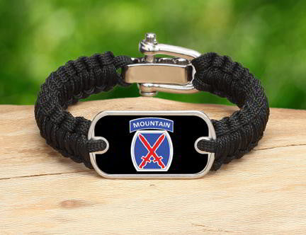 Light Duty Survival Bracelet™-U.S. Army™ 10th Mountain Black