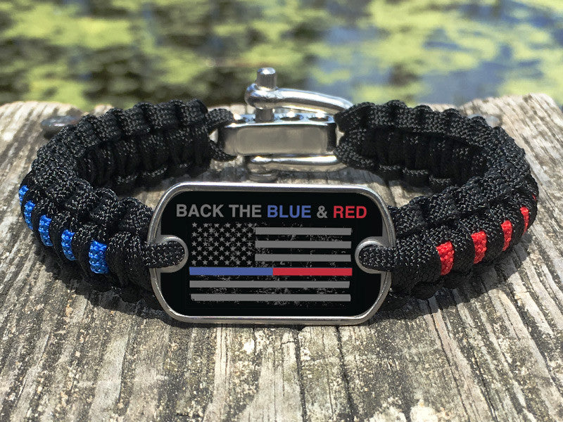 Light Duty Survival Bracelet™ - Back the Blue & Red