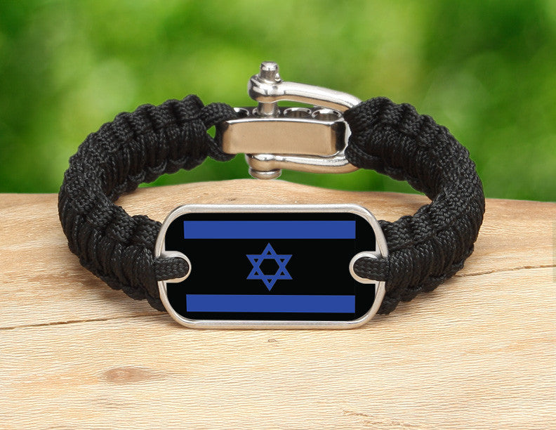 Light Duty Survival Bracelet™ - Israeli Flag - Black