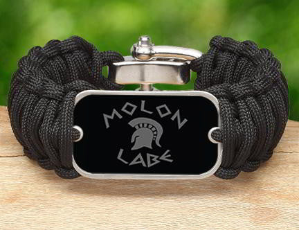 Wide Survival Bracelet - Molon Labe (Gray)