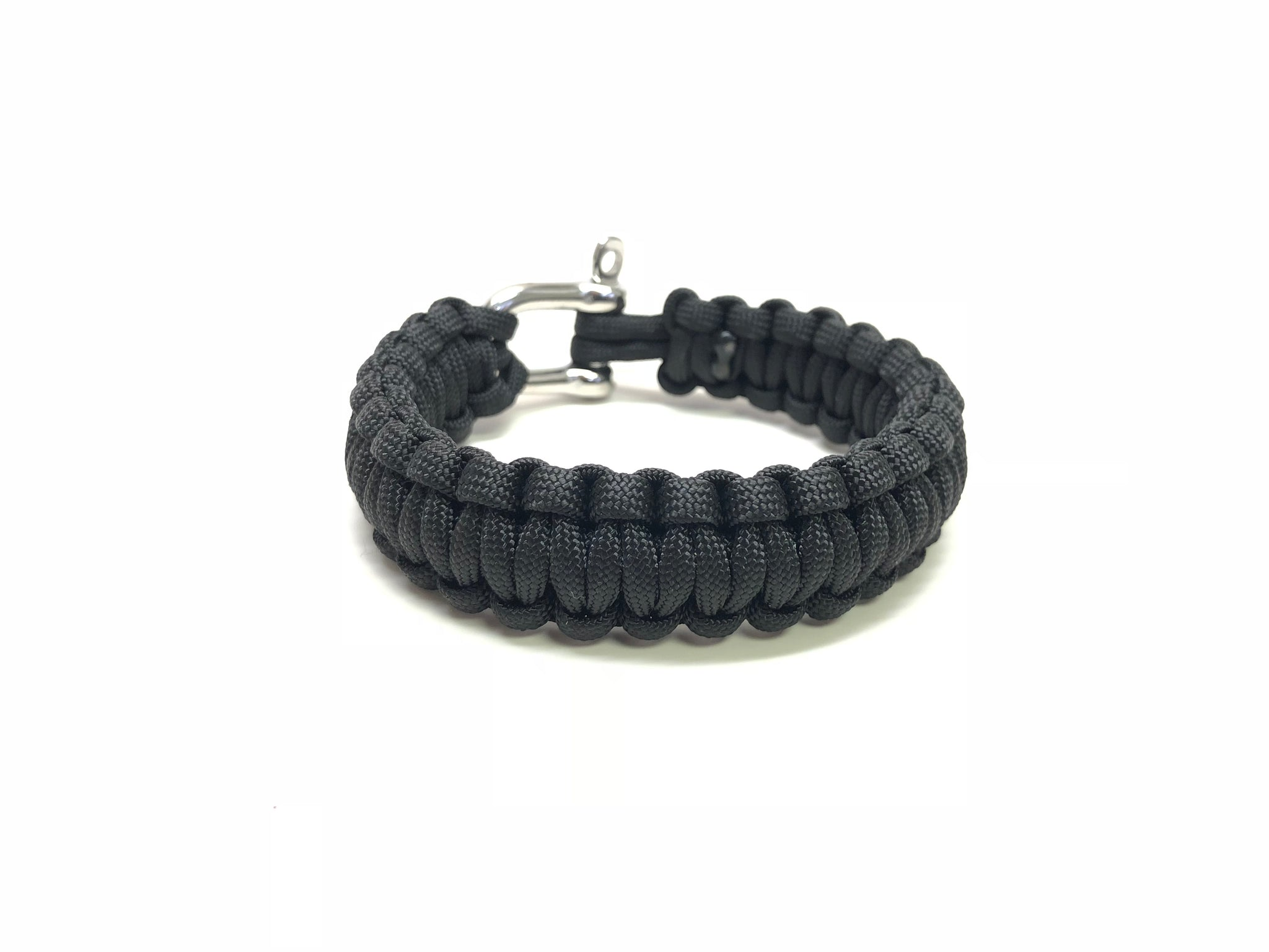 BLACK PARACORD BRACELET WITH STAINLESS STEEL SCREW PIN CLASP SIZE 6