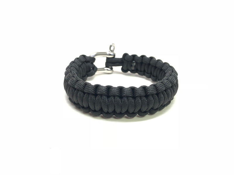 BLACK PARACORD BRACELET WITH STAINLESS STEEL SCREW PIN CLASP SIZE 7