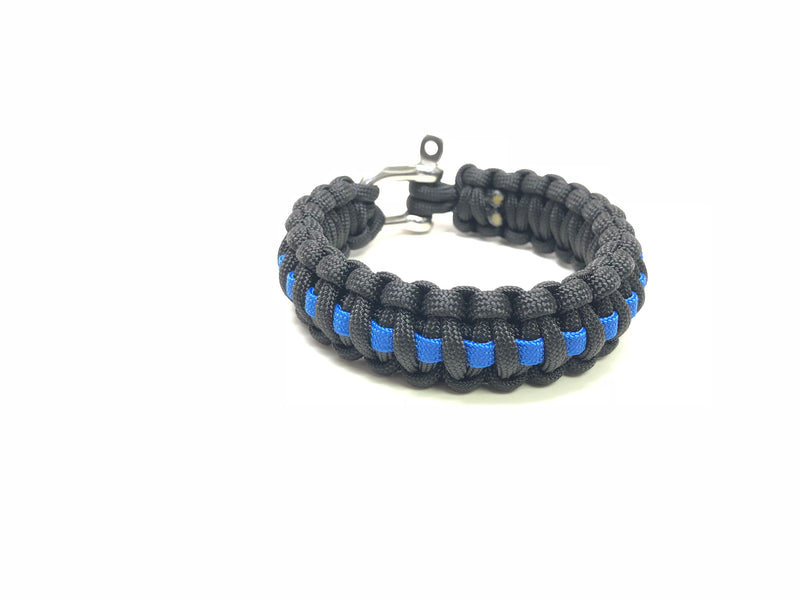 BLUE LINE PARACORD BRACELET WITH STAINLESS STEEL SCREW PIN CLASP SIZE 7.5