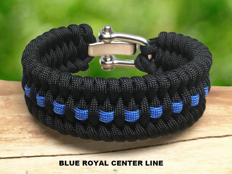 Wide Survival Bracelet ™- Fish Tail - Police Blue Line