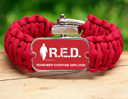 Wide Survival Bracelet™ - RED Friday Soldier Tag