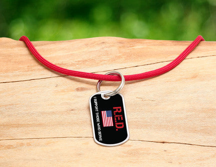 Neck Cord - RED Friday Flag Tag
