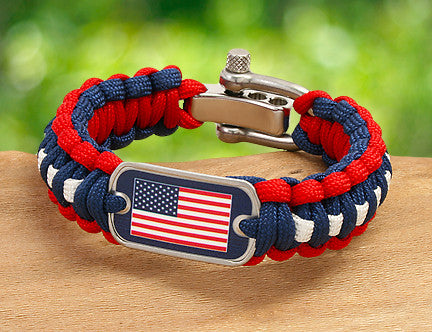 Regular Survival Bracelet - American Flag Tag