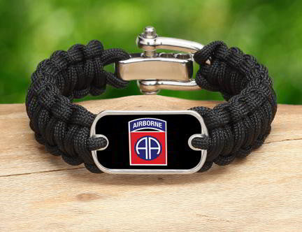 Regular Survival Bracelet™-U.S. Army™ 82nd Airborne Black