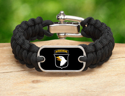 Regular Survival Bracelet™-U.S. Army™101st Airborne Black