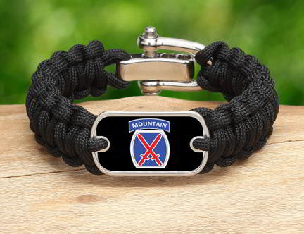 Regular Survival Bracelet™-U.S. Army™ 10th Mountain Black