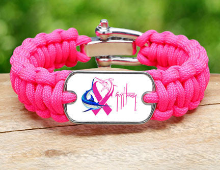 Regular Survival Bracelet™-Guy Harvey-Neon Pink Ribbon