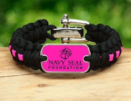 Regular Survival Bracelet™- Navy SEAL Foundation - Black and Pink