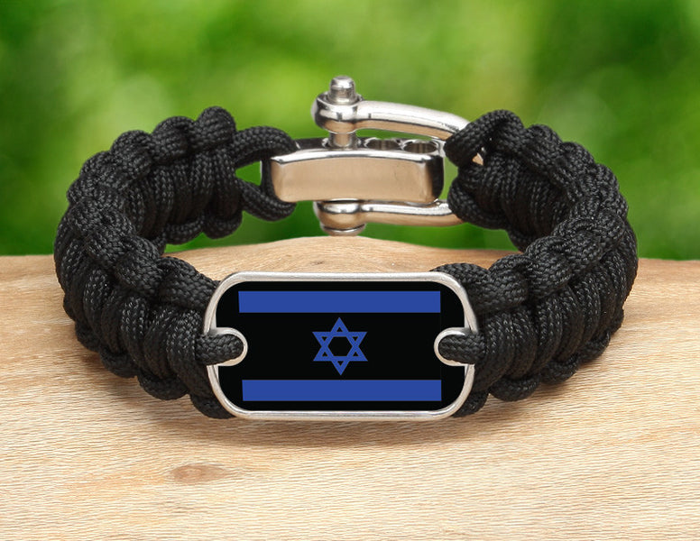 Regular Survival Bracelet™ - Israeli Flag - Black